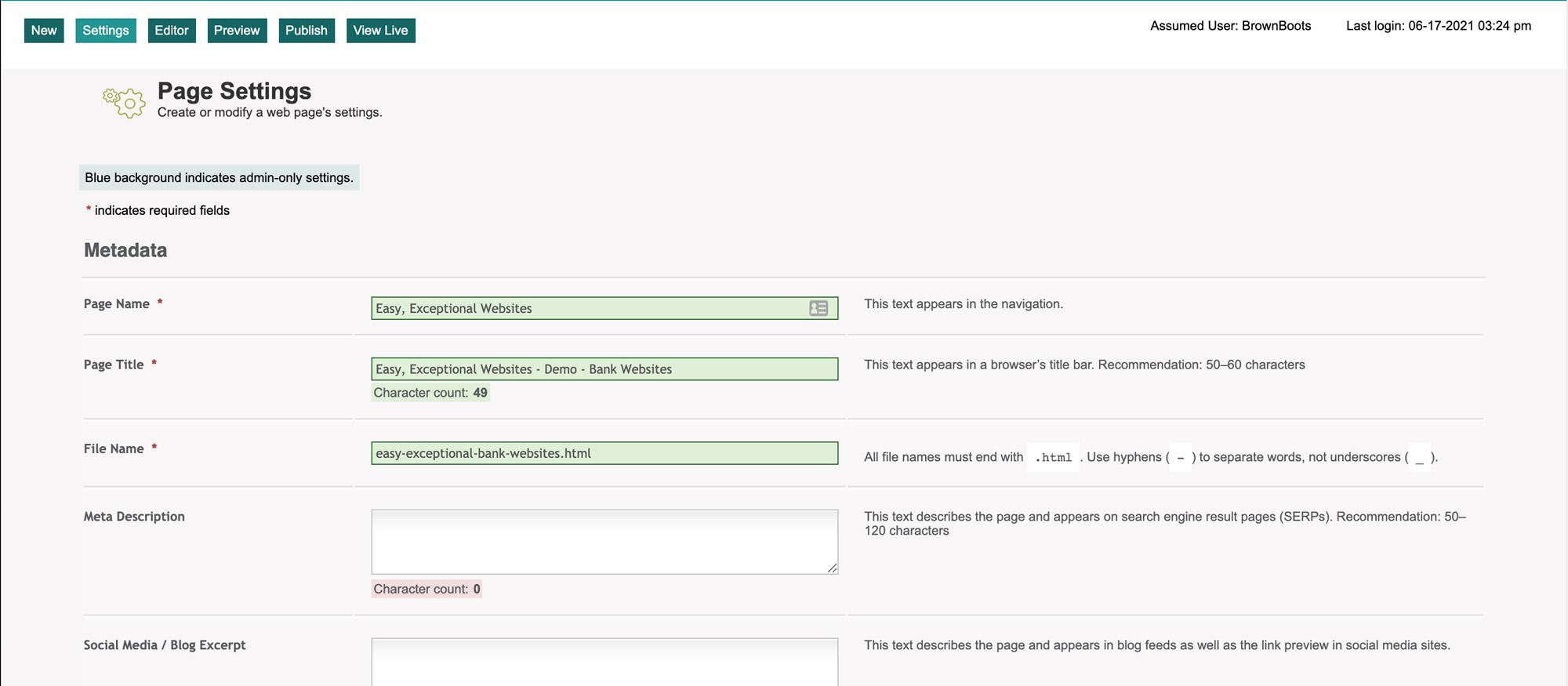 page settings tab