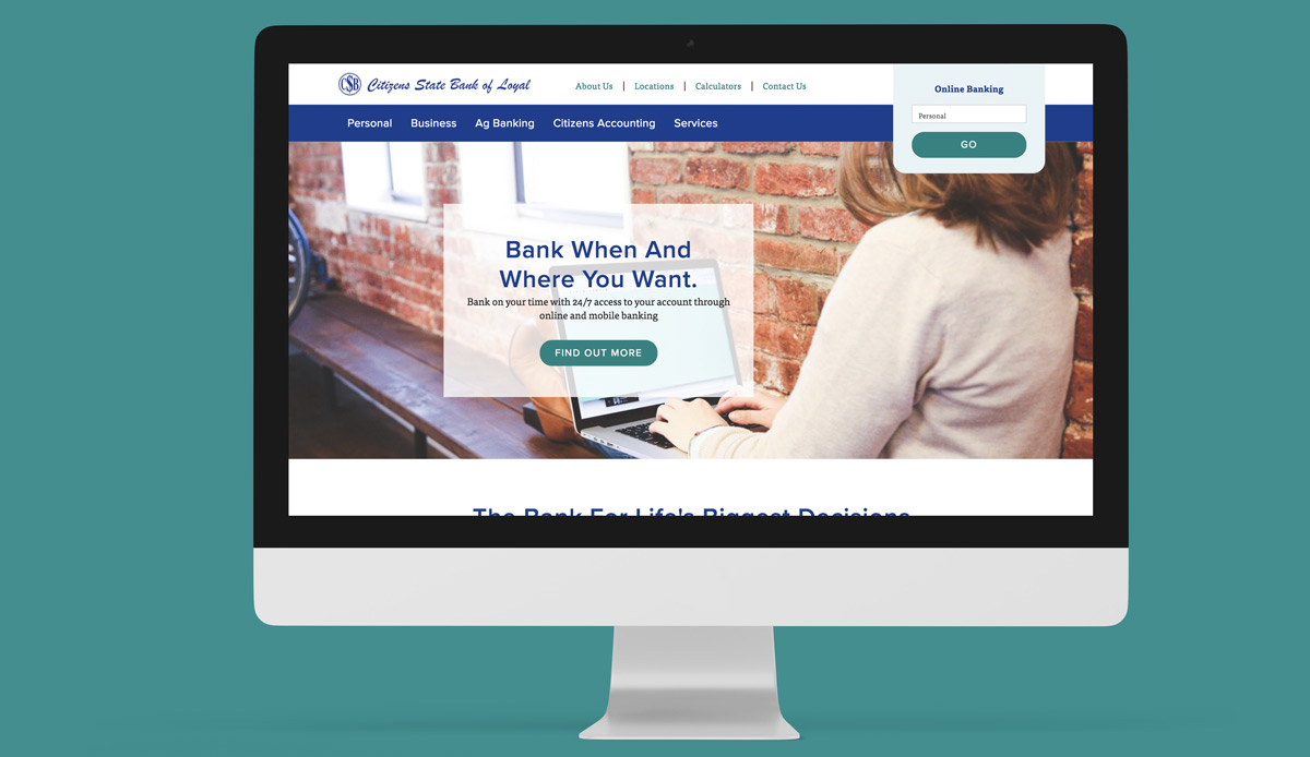 Screenshot of Citizens State Bank of Loyal
