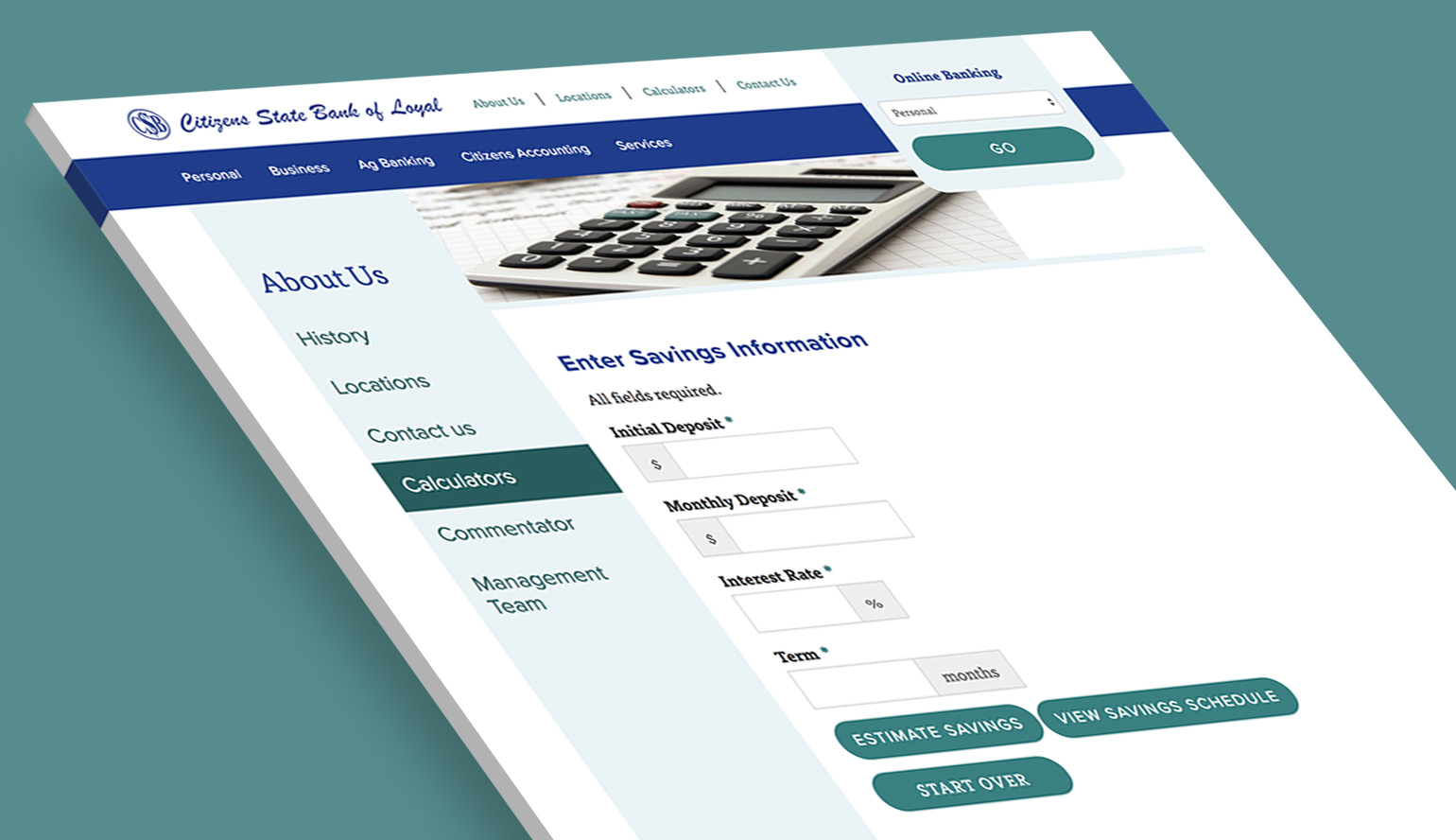Citizens State Bank of Loyal's financial calculators on the website