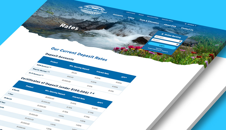 The rates page, managed by the easy-update rates tool in our simple CMS