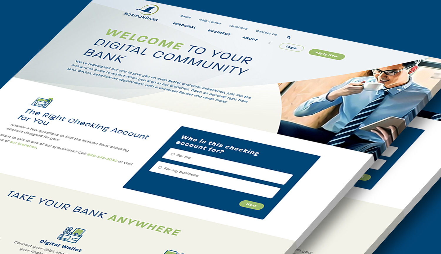The account wizard from Horicon Bank's website