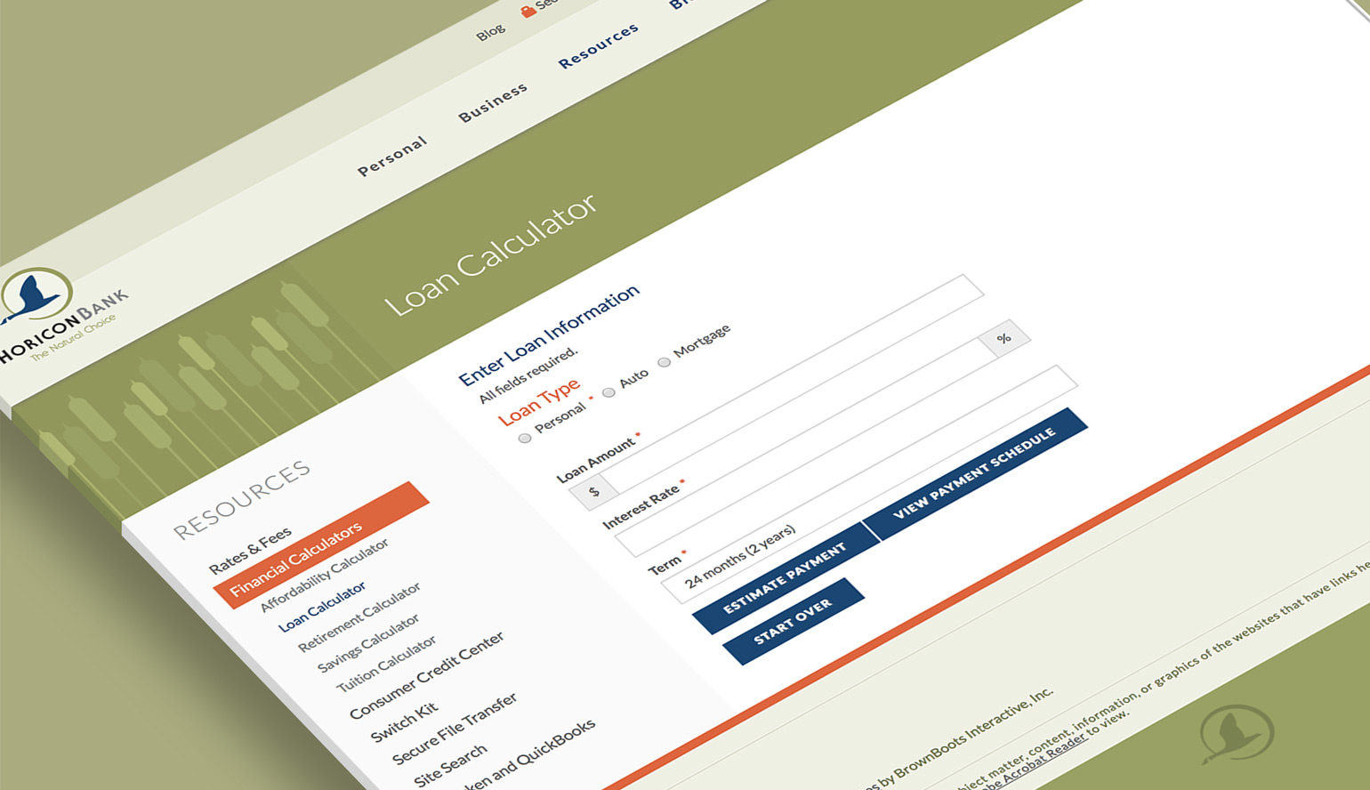 Horicon Bank's financial calculators displayed on the bank website