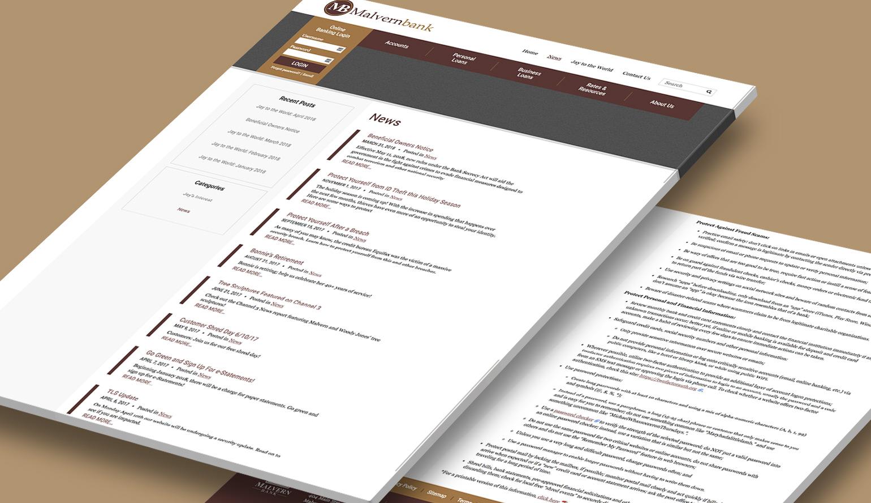 Malvern Bank's blog displayed on the bank's website