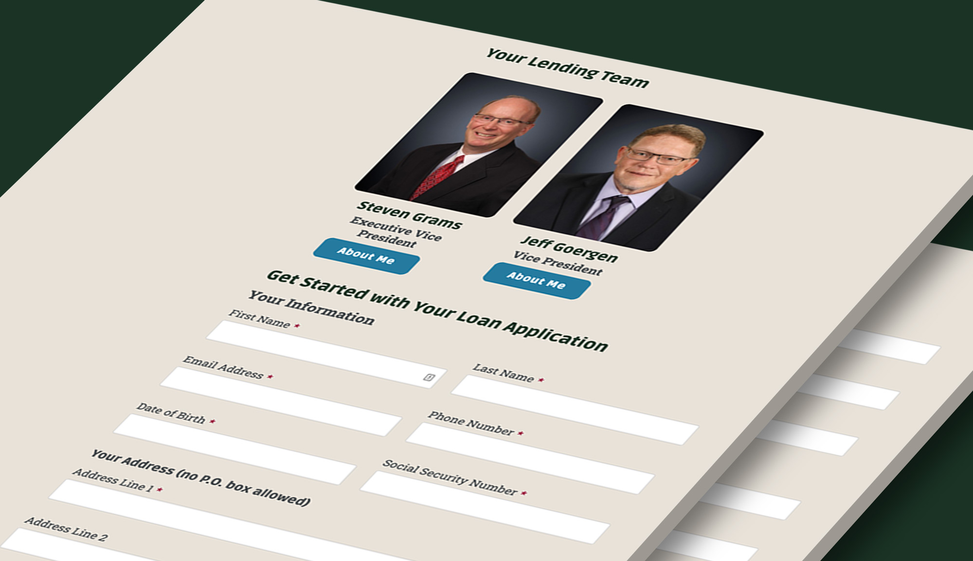 Example of lead-generating webforms on the Community Bank Owatonna's website