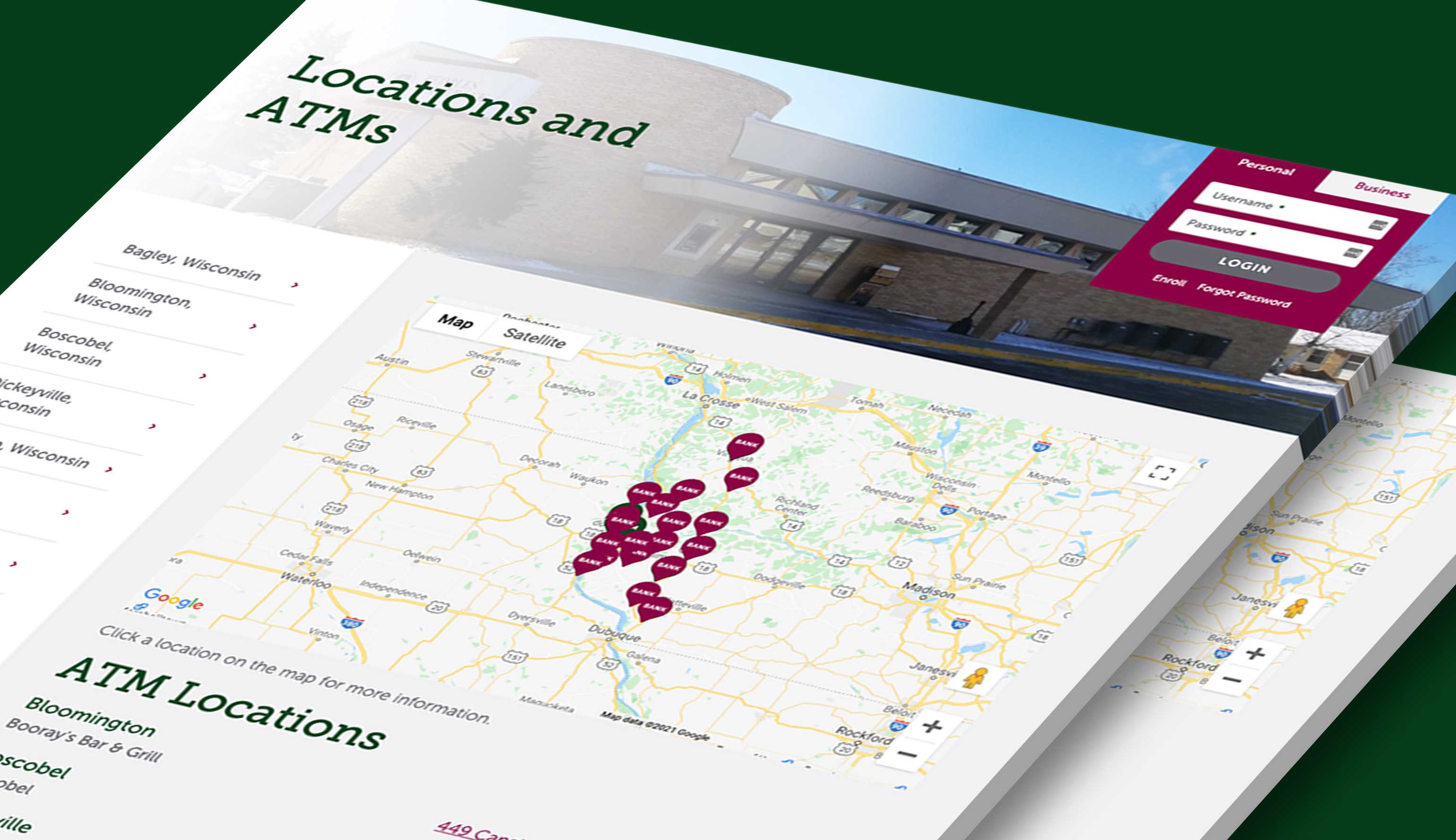 The custom locations page from Peoples State Bank's website