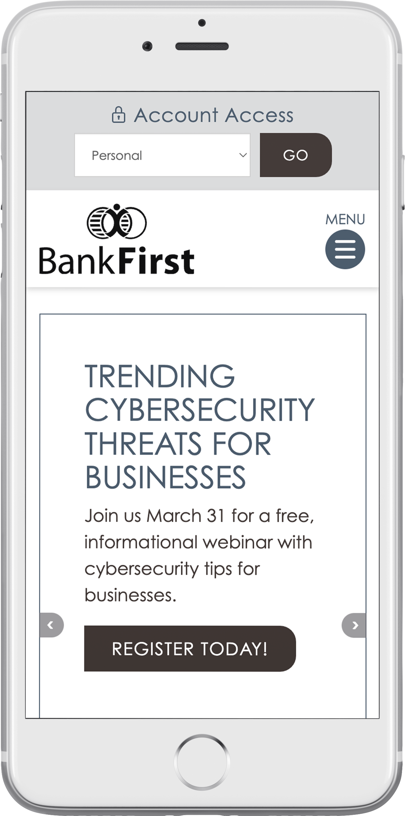 Bank First National's responsive bank website on a smartphone