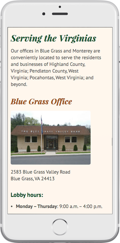 The Blue Grass Valley Bank's responsive bank website on a smartphone