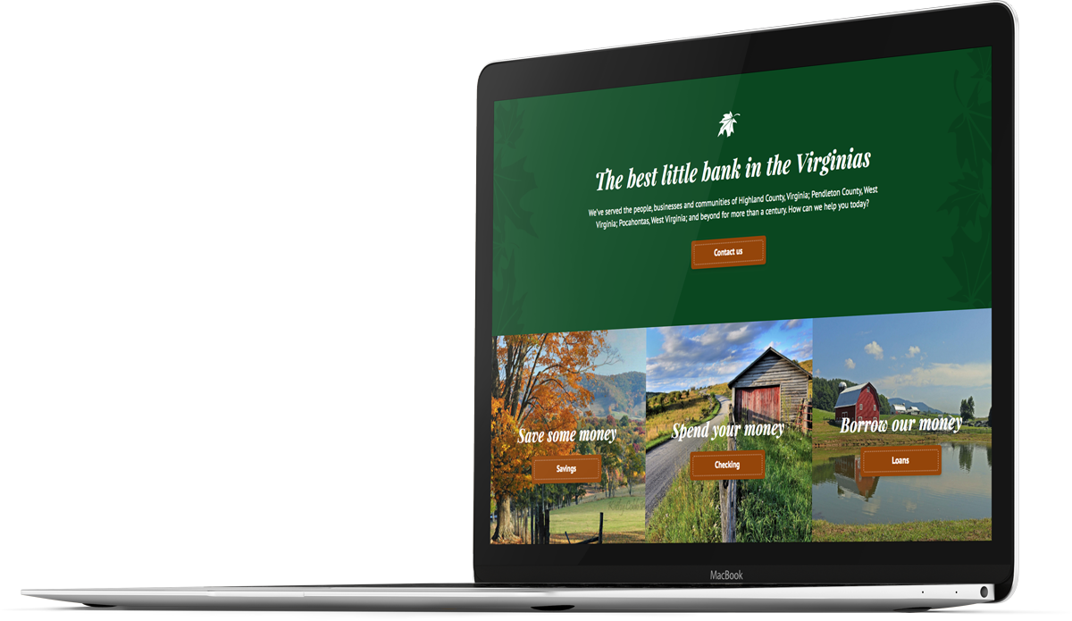 Bank website design for The Blue Grass Valley Bank on a laptop screen