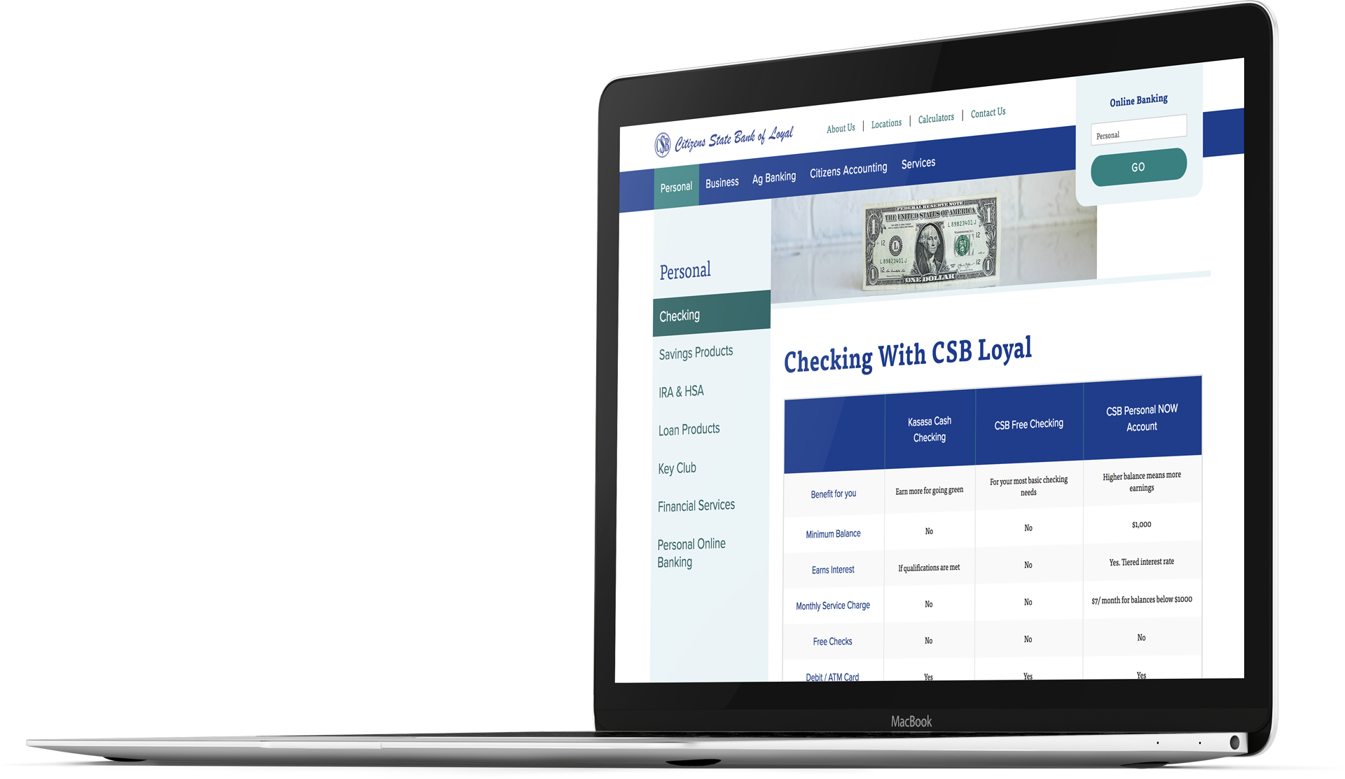Bank website design for Citizens State Bank of Loyal on a laptop screen