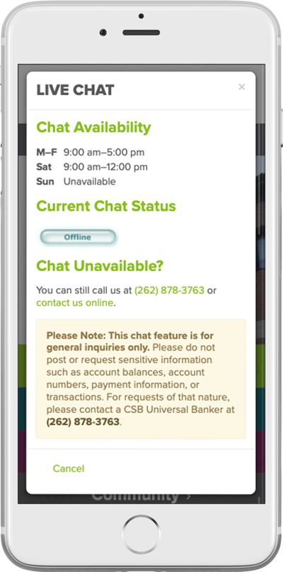 Community State Bank's responsive bank website on a smartphone