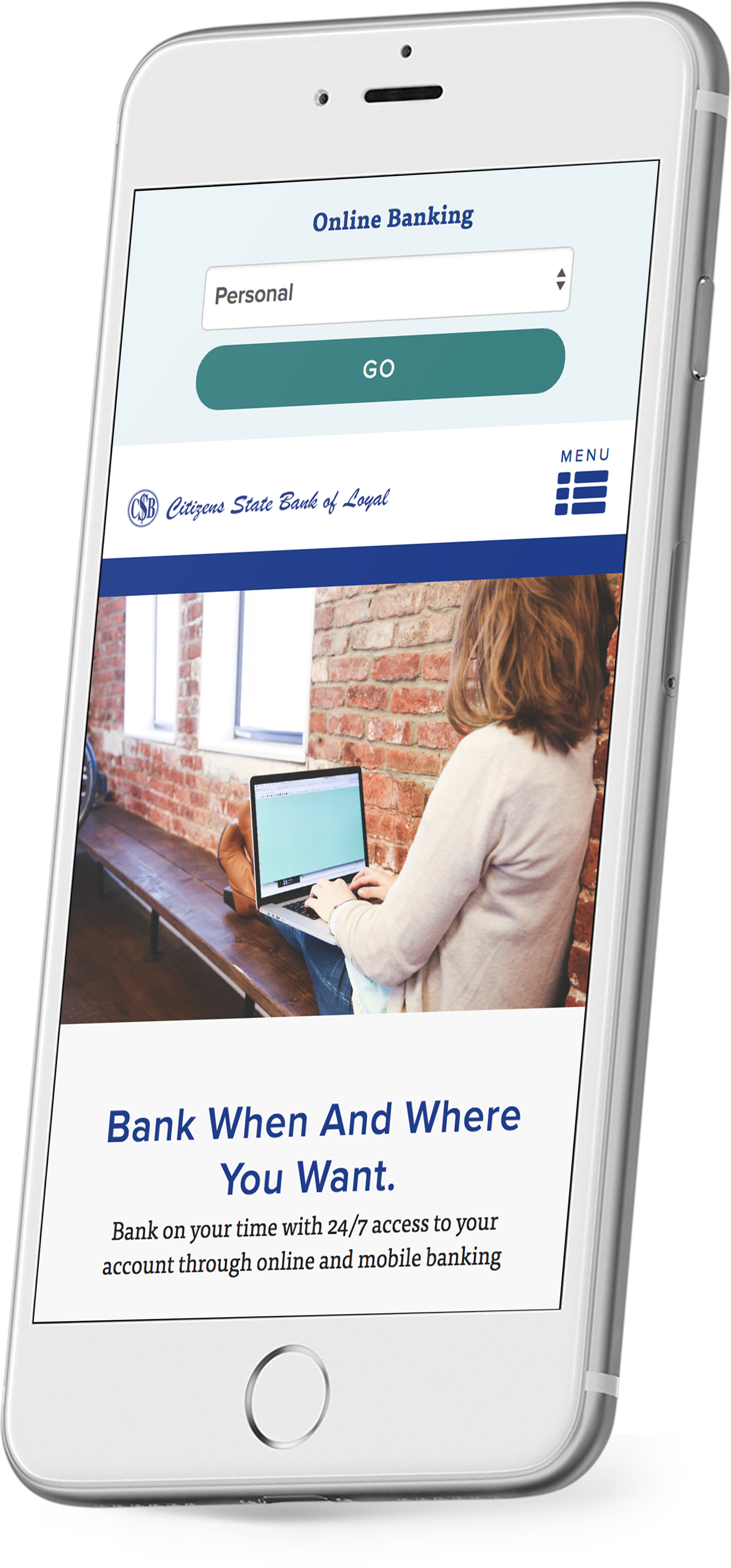 CSB Loyal's responsive bank website on a smartphone