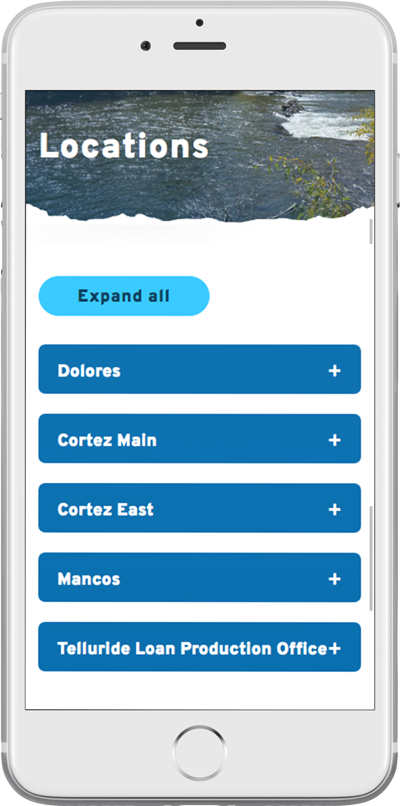 The Dolores State Bank's responsive bank website on a smartphone