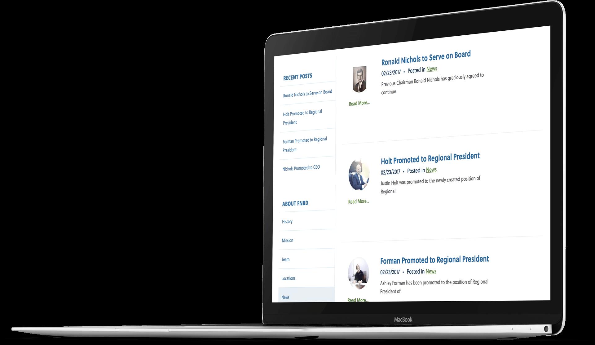 Bank website design for FNBD on a laptop screen