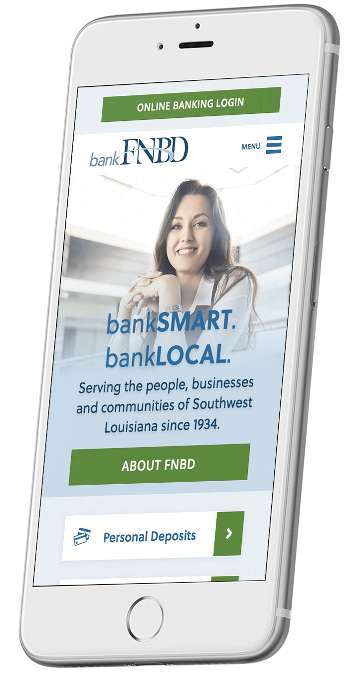 FNBD's responsive bank website on a smartphone