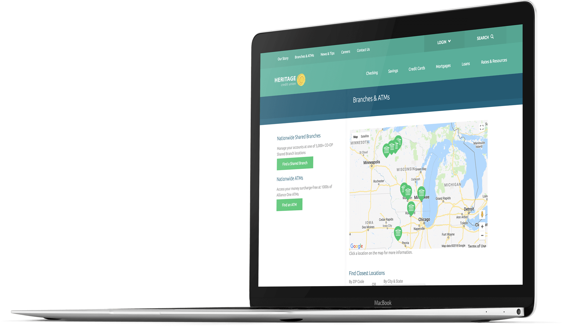 Bank website design for Heritage Credit Union on a laptop screen