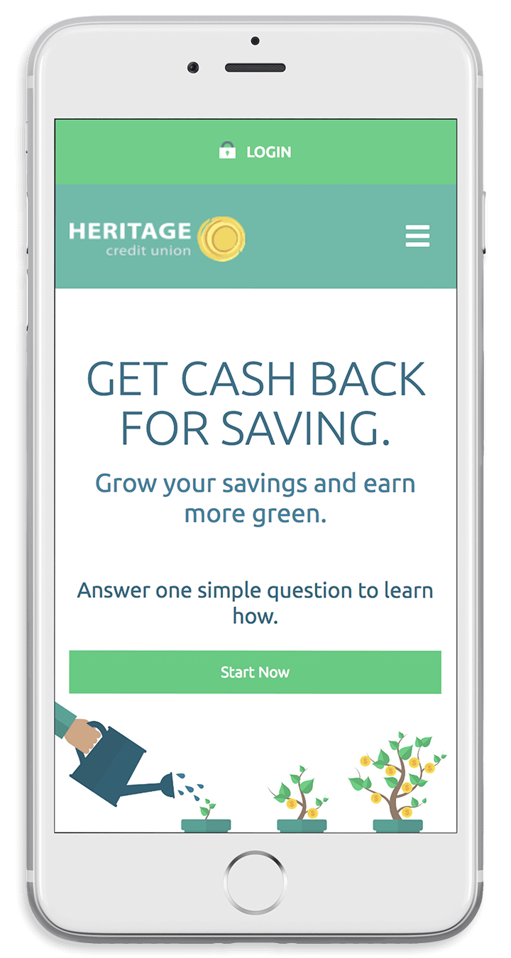Heritage Credit Union's responsive bank website on a smartphone