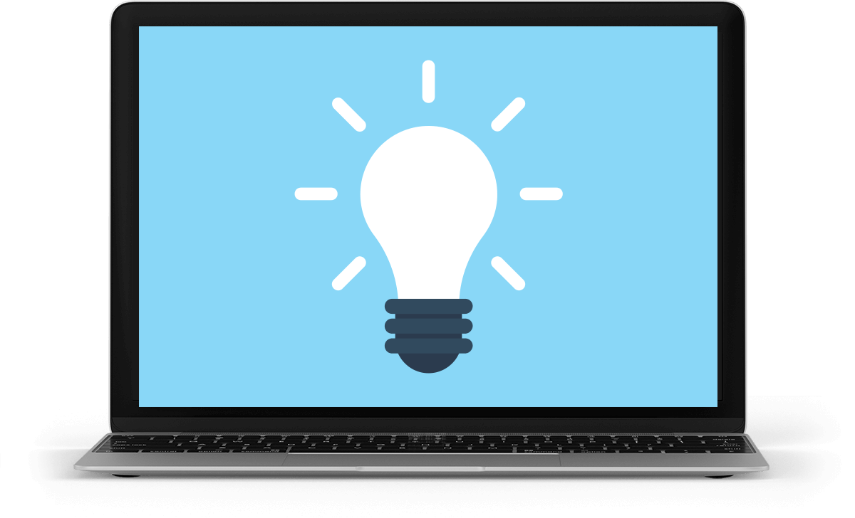 laptop displaying a light bulb icon