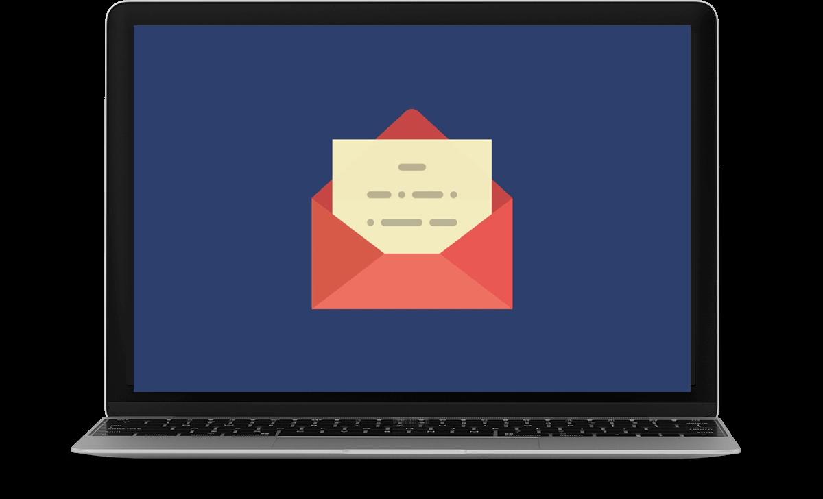 laptop displaying an envelop icon
