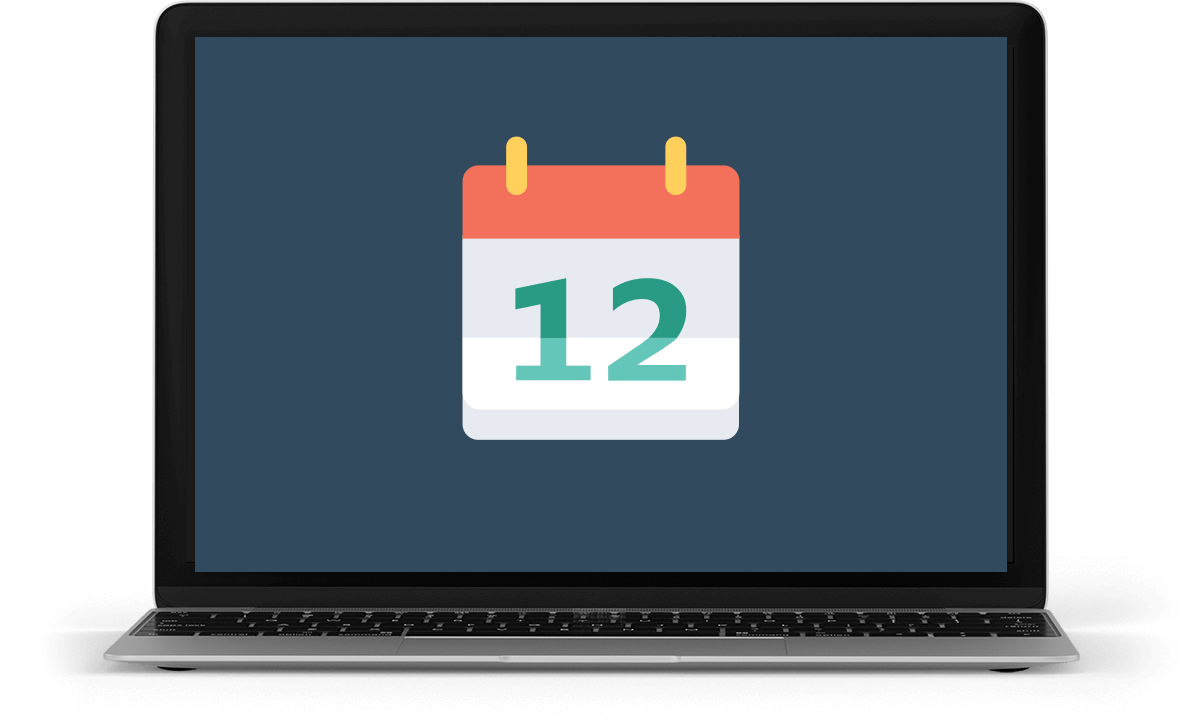 laptop displaying an icon that represents events