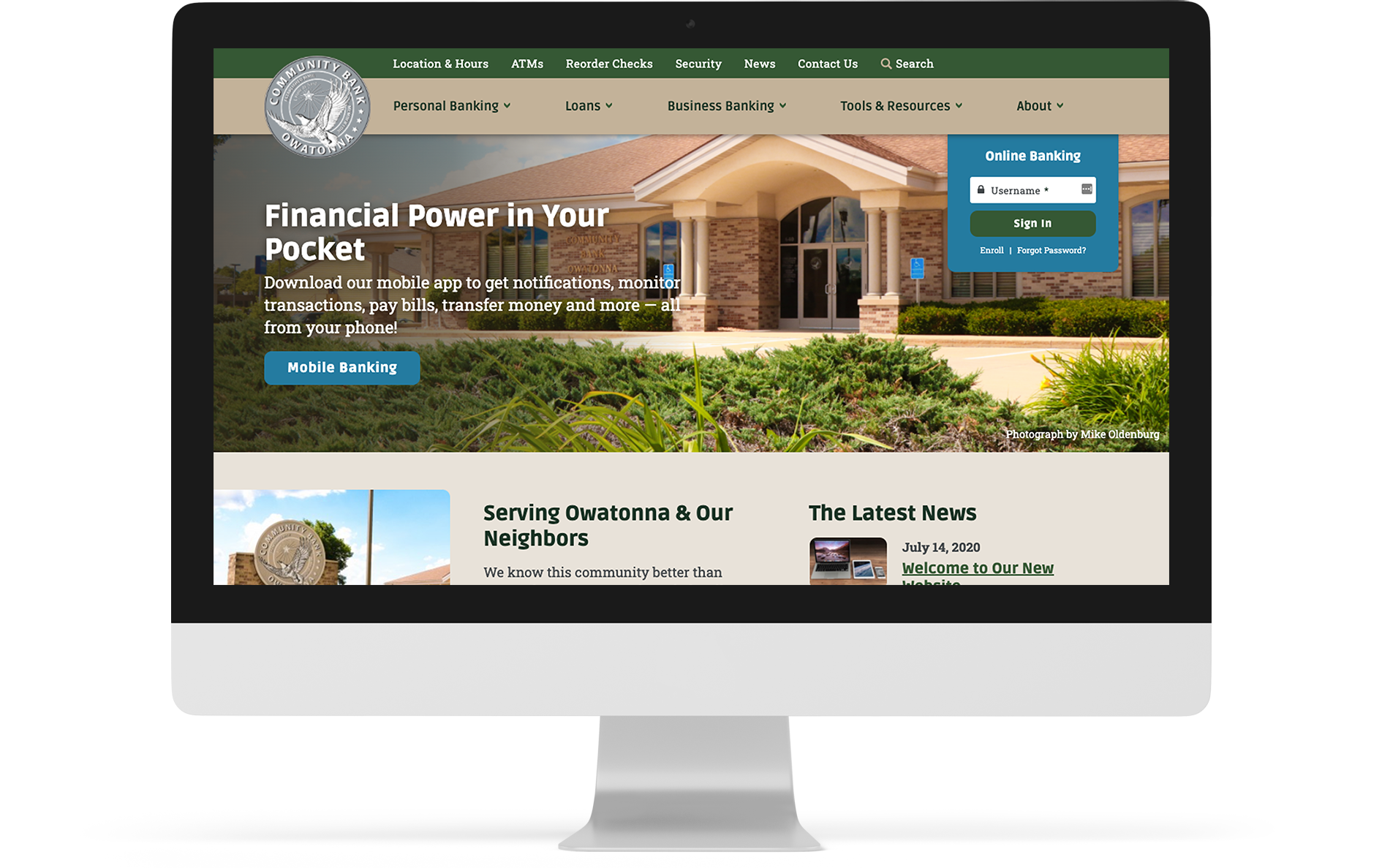 Screenshot of Community Bank Owatonna