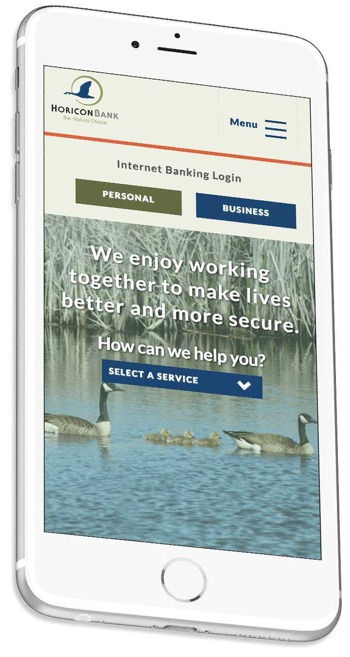Horicon Bank's responsive bank website on a smartphone