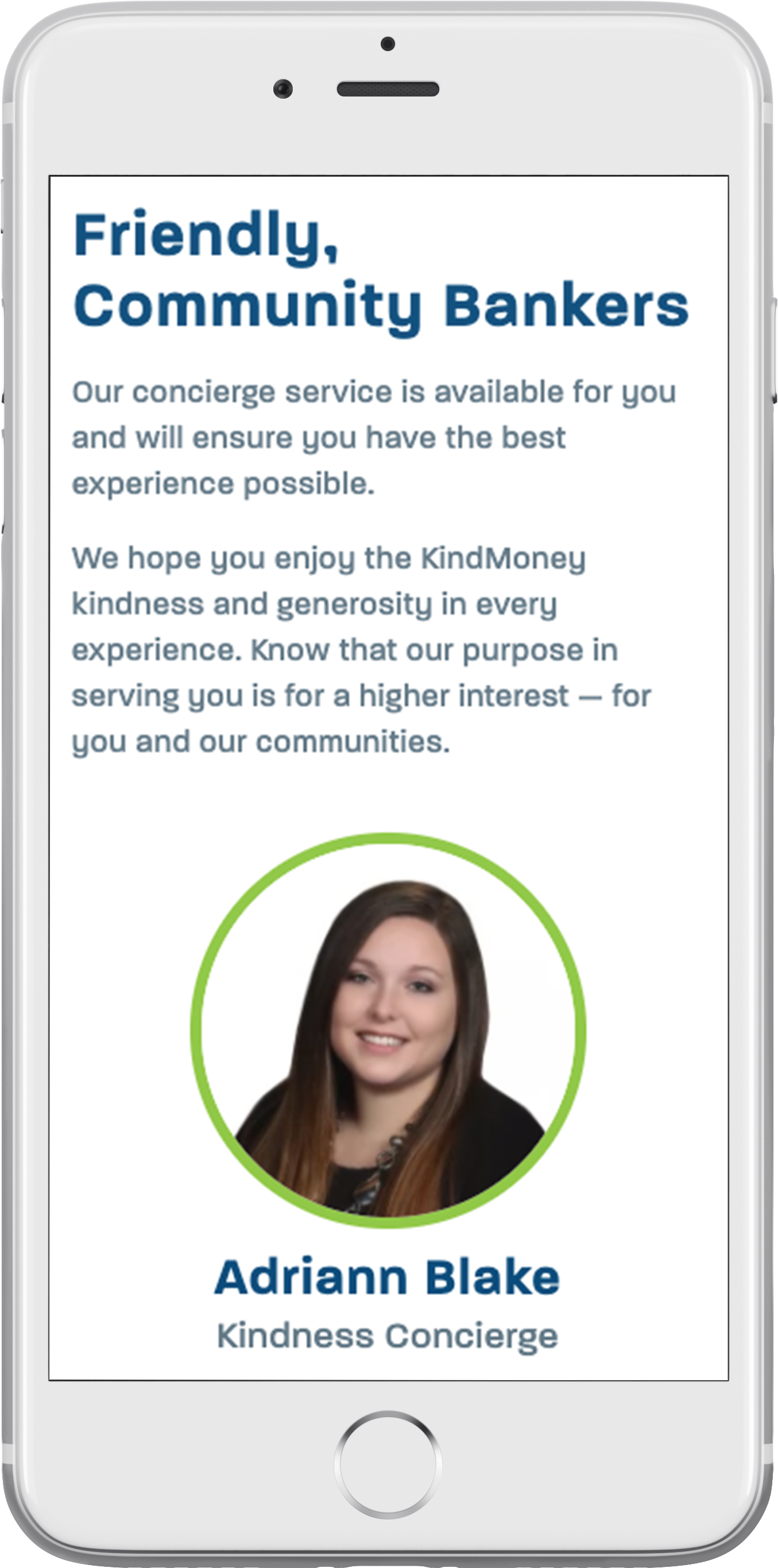 KindMoney's responsive bank website on a smartphone