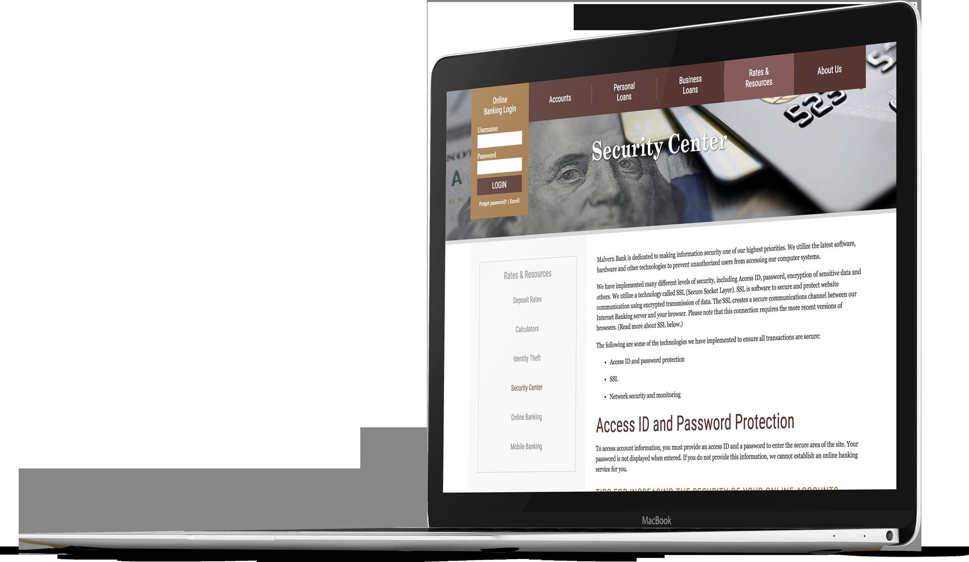 Bank website design for Malvern Bank on a laptop screen