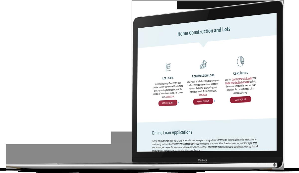 Bank website design for NEBAT on a laptop screen