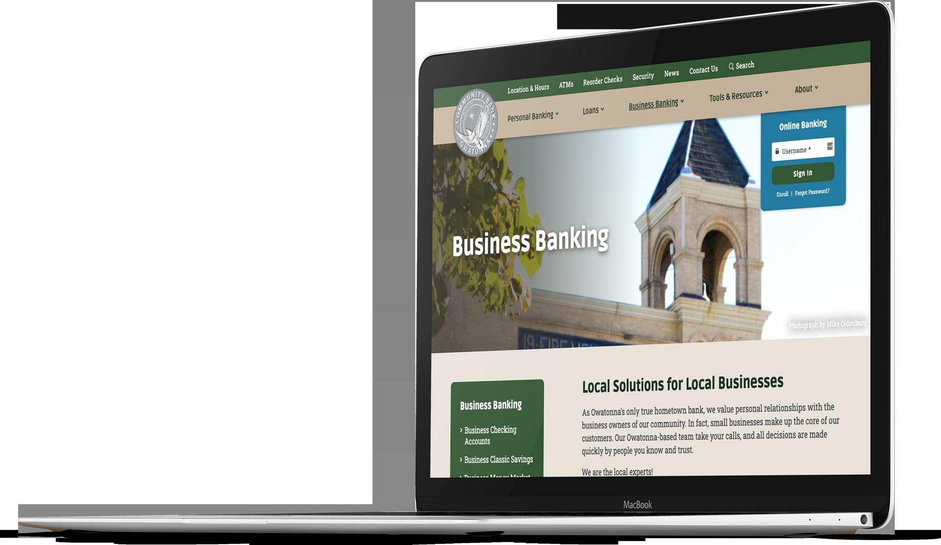 Bank website design for Community Bank Owatonna on a laptop screen