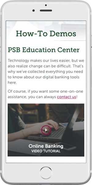 Peoples State Bank's responsive bank website on a smartphone