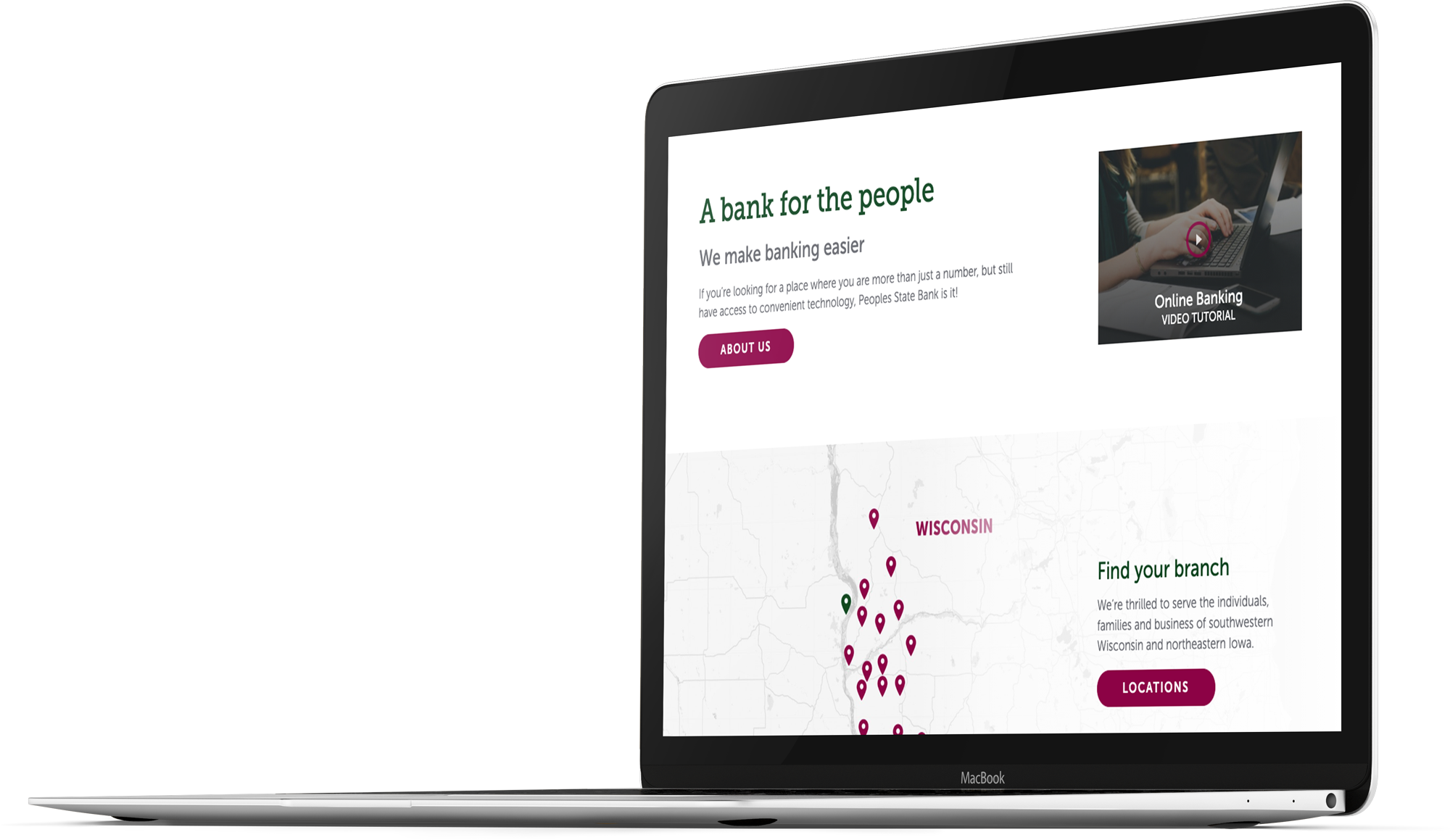 Bank website design for Peoples State Bank on a laptop screen