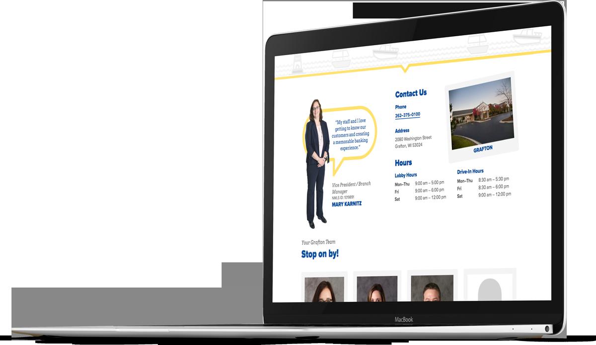 Bank website design for Port Washington State Bank on a laptop screen