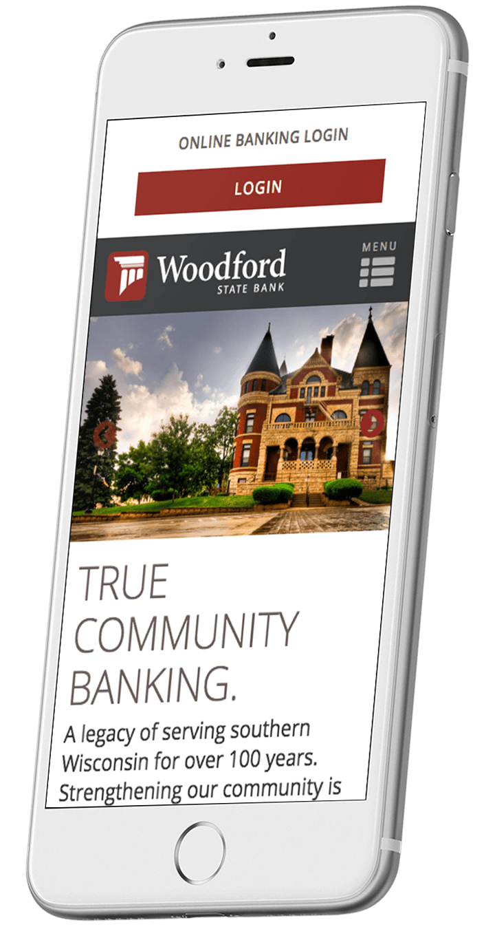 Woodford State Bank's responsive bank website on a smartphone